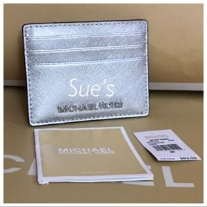 Nwt Mk Card Case Holder- Silver